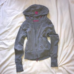 Lululemon Gray and Pink Embroidered Hoodie Jacket
